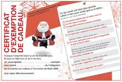 Certification d'exemption de cadeau