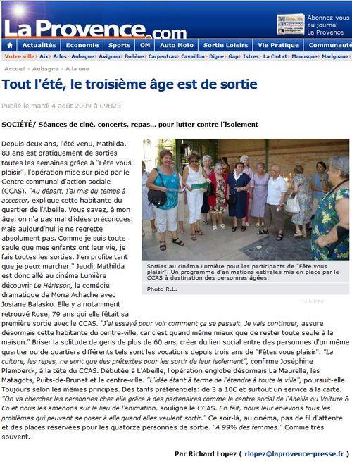 2009 08 04 - La Provence -tout l'été, le troisième âge est de sortie-