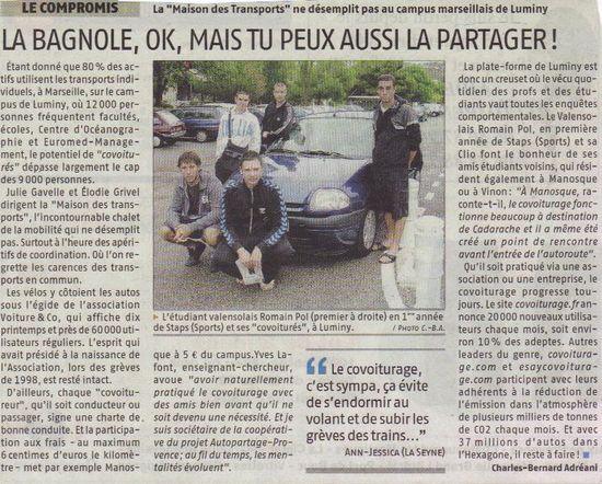 2009 09 23 - La Bagnole, OK, Mais tu peux aussi la partager (La Provence)