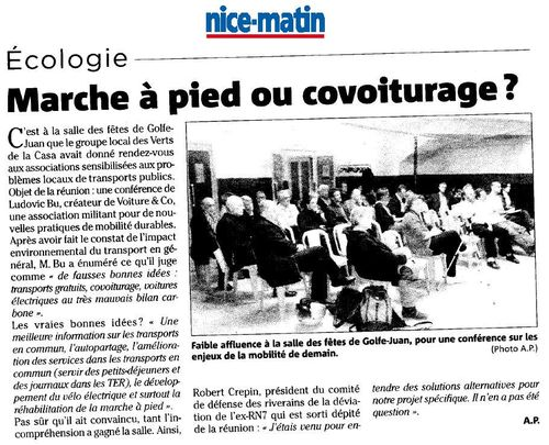 2009 11 27 - Nice Matin sur Conférence à Golfe Juan