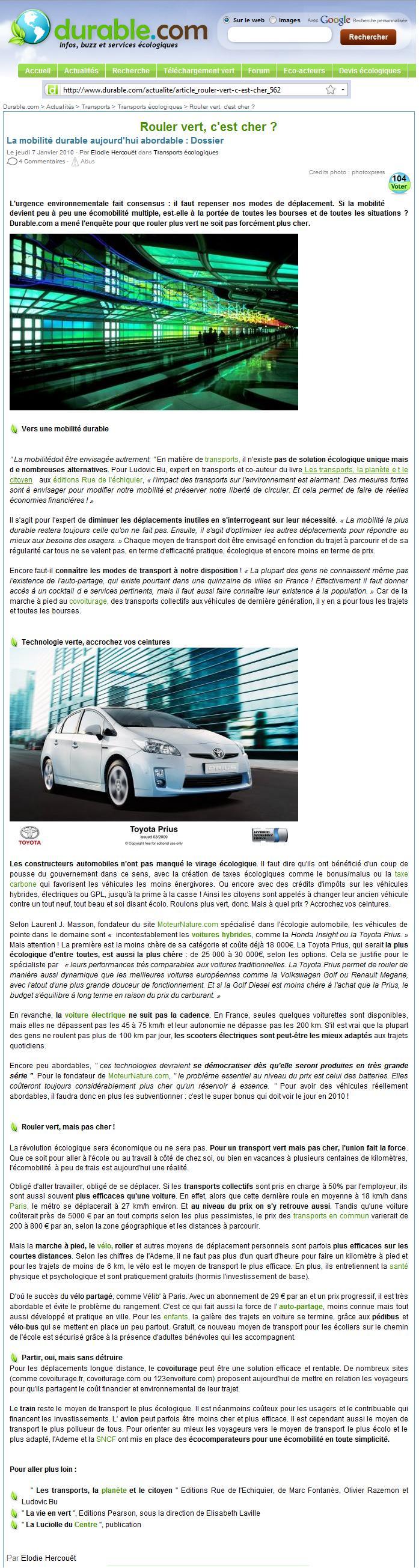 Rouler vert, c'est cher (Durable.com, 07 01 10)