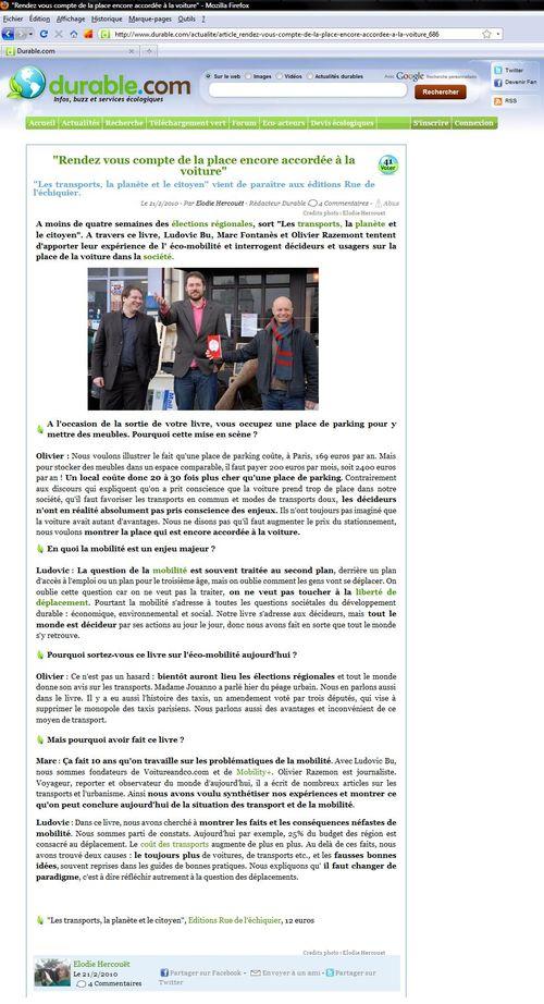 Durable.com - Rendez-vous compte de la place encore accordée à la voiture (21 02 2010)