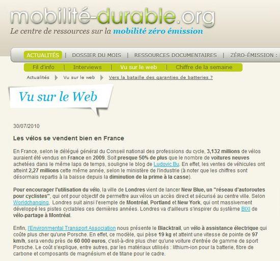 Mobilité durable.org - Vu sur le web 31 juillet 2010