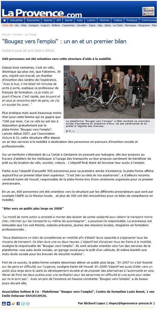 2008 04 28 - La Provence.com - Bougez vers l'emploi, un an et un premier bilan (28 avril 2008)