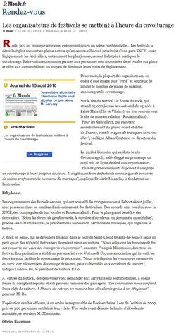 2010 08 14 - Les organisateurs de festivals se mettent à l'heure du covoiturage (Le Monde, 14 08 10)