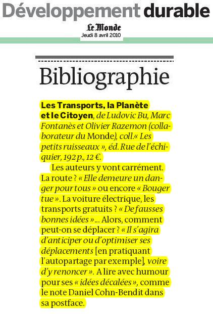 Le Monde - supplément DD - 8 avril 2010