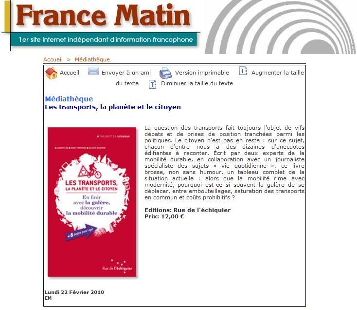 France Matin (22 02 2010)