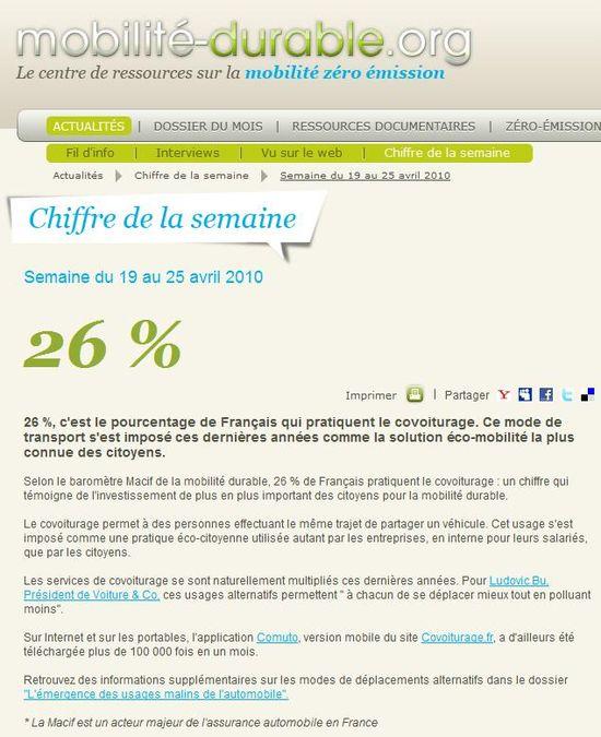 2010 04 19 - Mobilite-durable.org - 26% des Français pratiquent le covoiturage