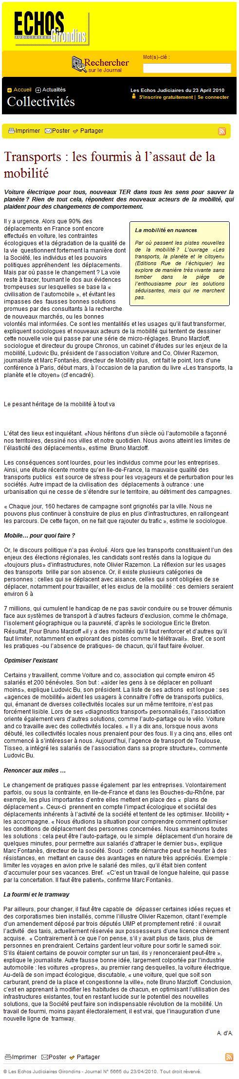 Echos Judiciaires Girondins (23 avril 2010)