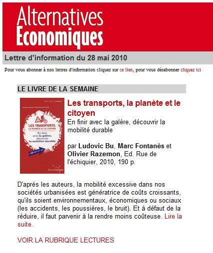Alternatives économiques - Lettre d'info du 28 mai 2010 - TPC Livre de la semaine