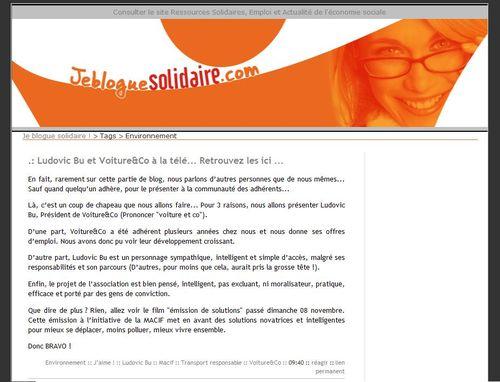 Jebloguesolidaire.com (12 novembre 2009)