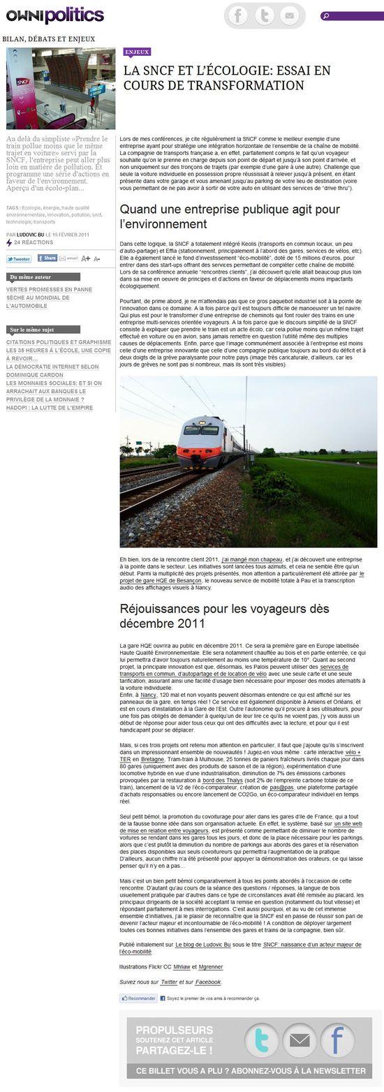 Owni Politics - La SNCF et l'écologie - essai en cours de transformation