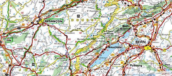 Doubs - carte routière
