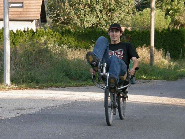 Adrien Caillot à vélo couché