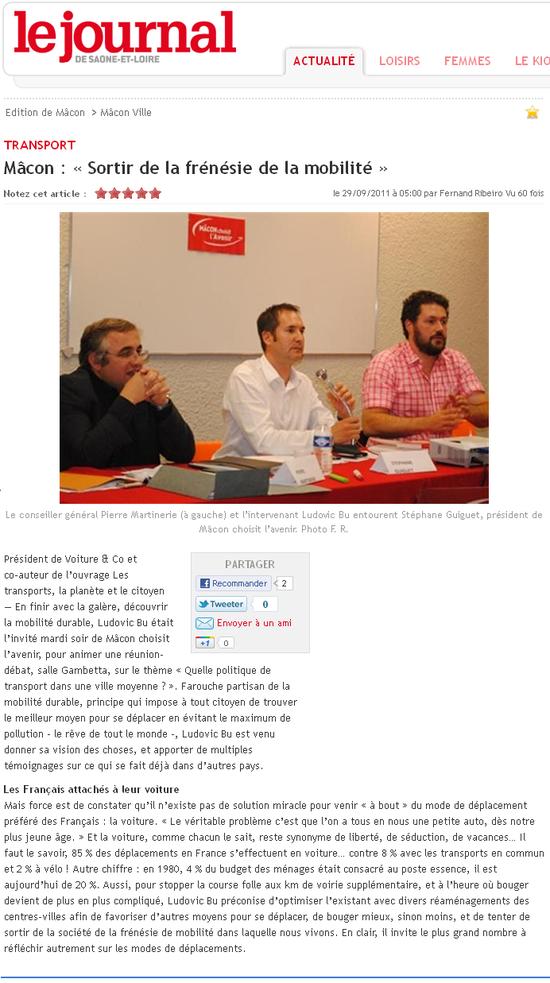 Le journal de Saône et Loire, 29 09 11