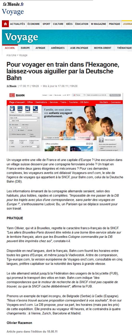 Pour voyager en train dans l'Hexagone, laissez-vous aiguiller par la Deutsche Bahn (Le Monde, 17 08 11)
