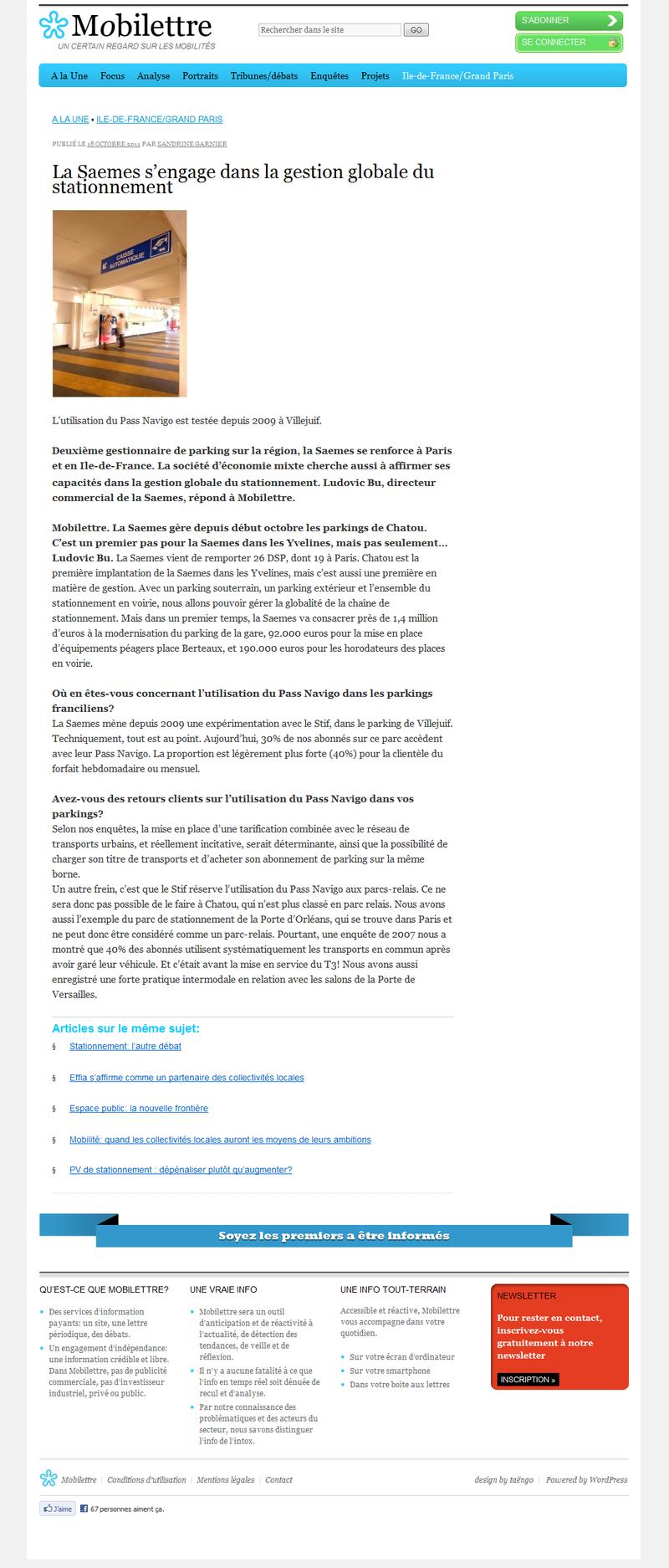 Mobilettre - La Saemes s'engage dans la gestion globale du stationnement (18 octobre 2011)