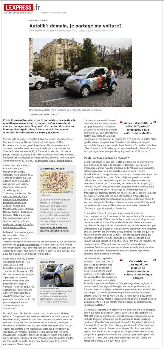 L'Express - Autolib', demain je partage ma voiture (18 novembre 2011)