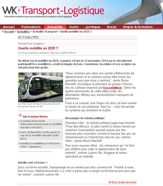 WK transport logistique - quelle mobilité en 2025 (25 11 2011)