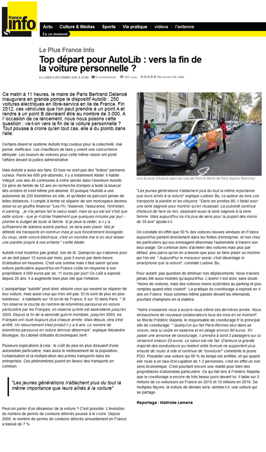 France Info - Top départ pour AutoLib, vers la fin de la voiture personnelle (05-12-11)