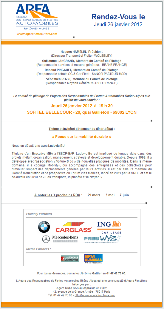 ARFA - Agora des Responsables de Flottes Automobiles - 26 janvier - Lyon