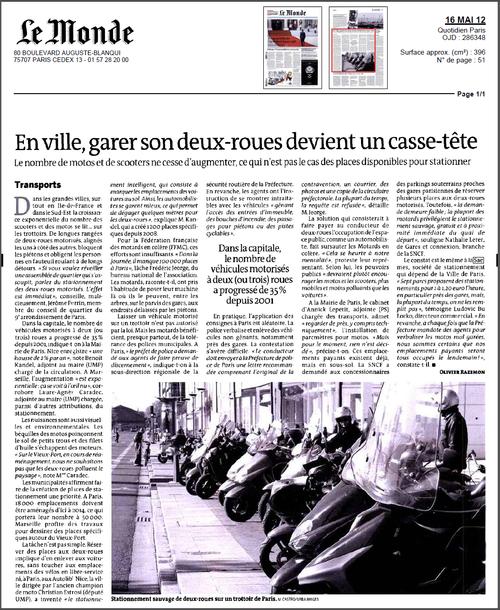 Le Monde, 16 mai 2012 - En ville, garer son deux-roues devient un casse-tête