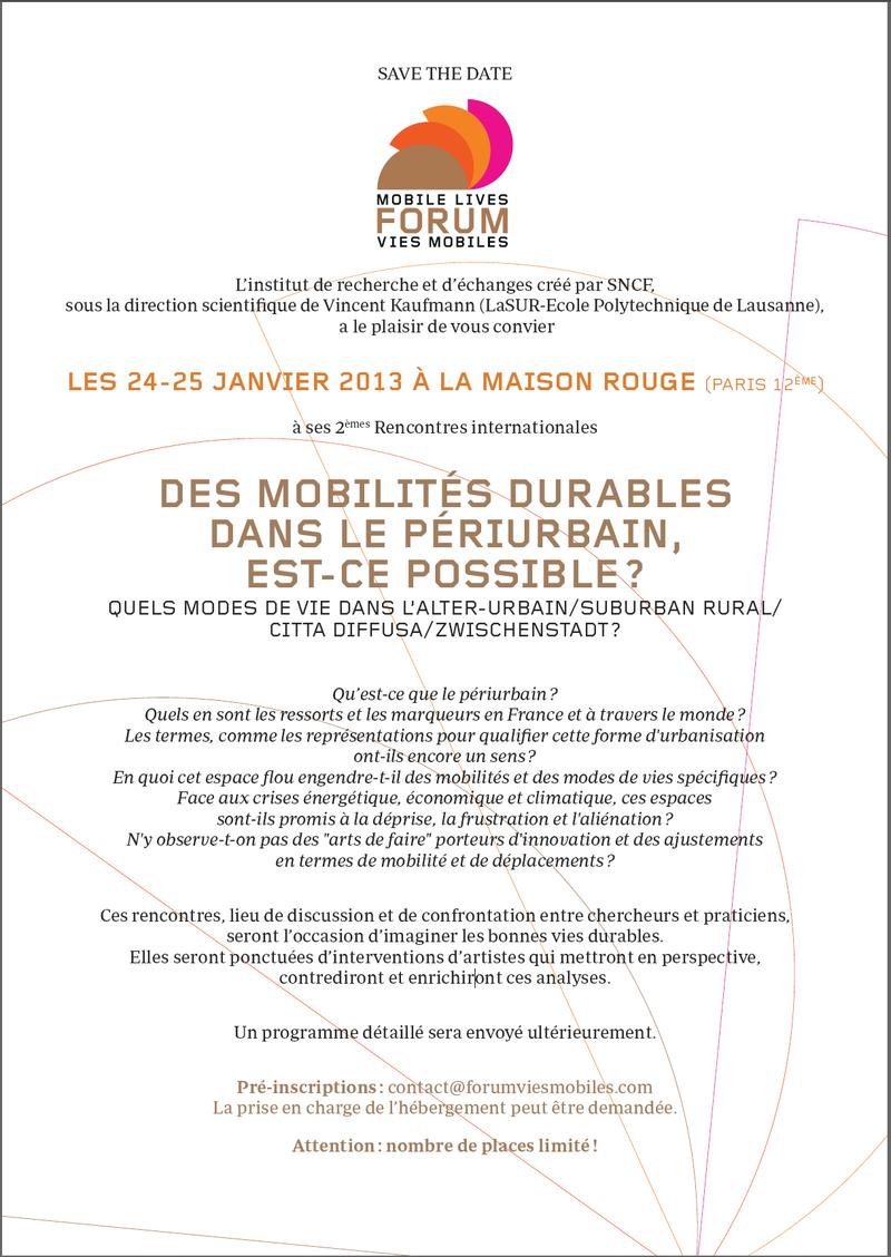 Programme Forum Vies Mobiles janvier 2013 Périurbain