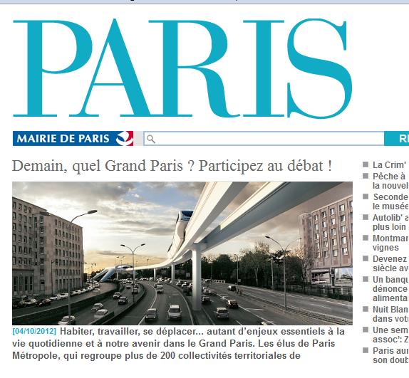 Montage de la page du site Paris.fr à propos du grand paris et du débat