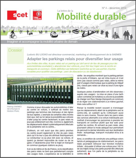 La lettre de la mobilité durable n°4 - décembre 2012
