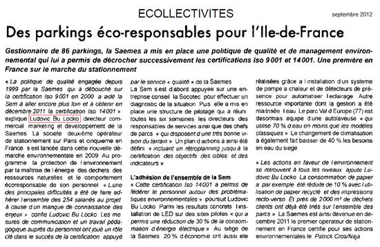 Ecollectivités - Des parkings responsables pour l'Ile de France (sept 2012)