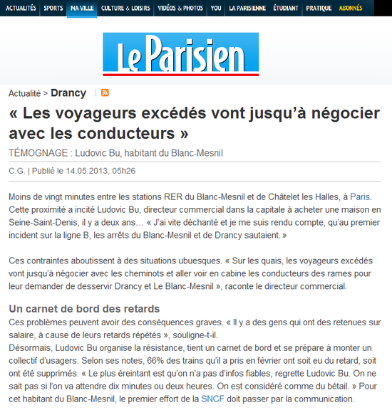 Le Parisien du 14 05 - 'Les voyageurs excédés vont jusqu'à négocier avec les conducteurs'