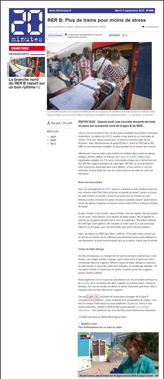 20 minutes - RER B Plus de trains pour moins de stress (3 septembre 2013)