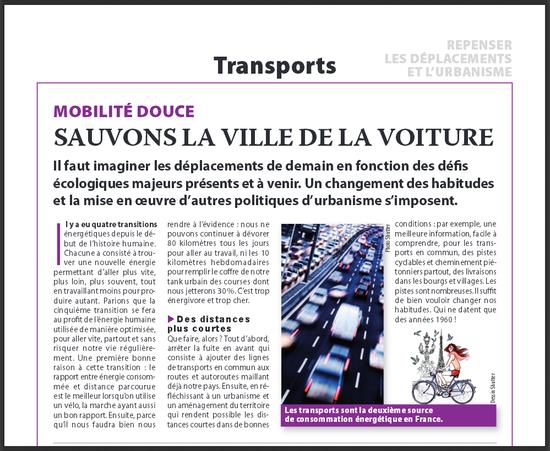 'Sauvons la ville de la voiture' (Ecolonews automne 2013)