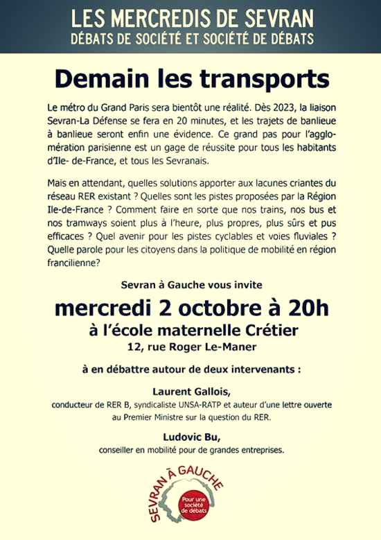Contenu 'Demain les transports' de Sevran à Gauche