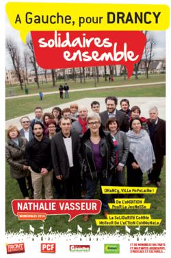 Affiche de campagne Drancy à gauche, solidaires ensemble