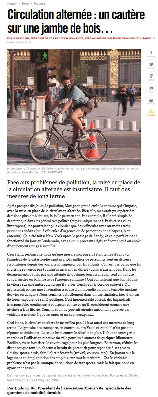 Libération - Circulation alternée, un cautère sur une jambe de bois (19.03.2014) sans header