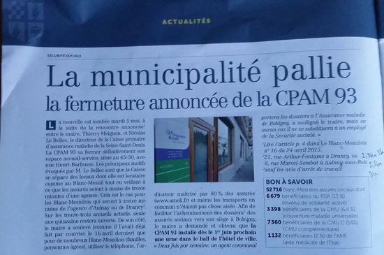 Fermeture CPAM Blanc Mesnil vue par Meignen