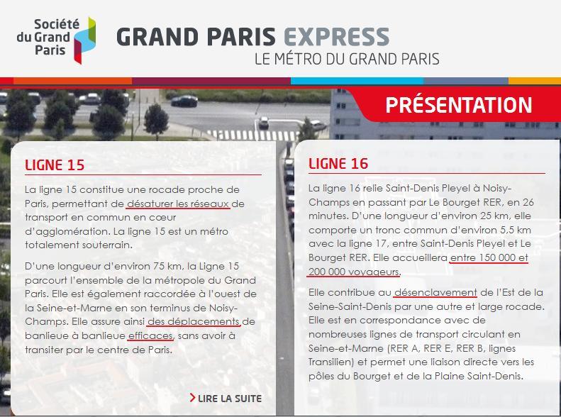 Société du Grand Paris - Montage des présentations des lignes 15 et 16